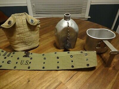 World War 1 and 2 US Military Belt Canteen Mess kit  Dates Stamped 1918 1942 194