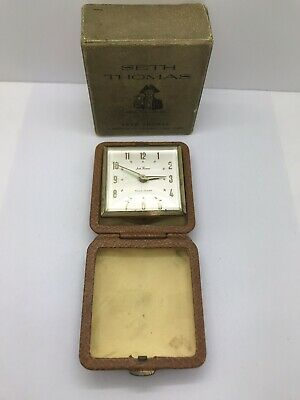 Vintage Art Deco Seth Thomas Folding Travel Alarm Clock ECHO No.3202  In Box