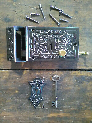Antique / Vintage Ornate Russell & Erwin Entrance Lock All Original with Key