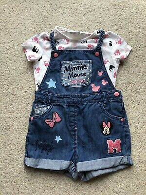 Disney Minnie Mouse Girls Blue Denim Dungaree Shorts With Tshirt Age 2-3