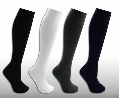 12 Pairs Of Black Cotton Knee High Socks For Ladies / Men (Adult Size 6 to 9)