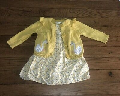 Next Baby Girls 3-6 Months Floral Dress And Cardigan M&CO
