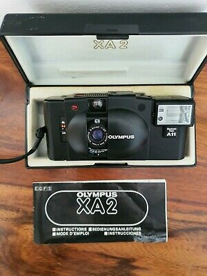 Olympus XA 2 35mm Compact Camera and A11 Flash with Case and instructions vgc