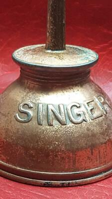 Vintage SINGER Hand Thumb Pump Oiler Oil Can  Metal Clean Authentic Advertising