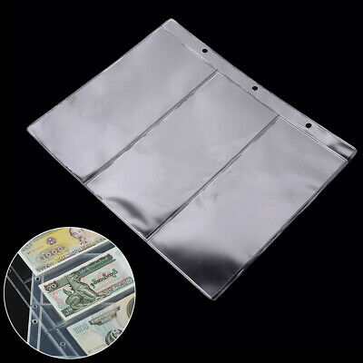 10x Set Sheet Banknote Album Page Paper Money Currency Collection Binder Sleeves