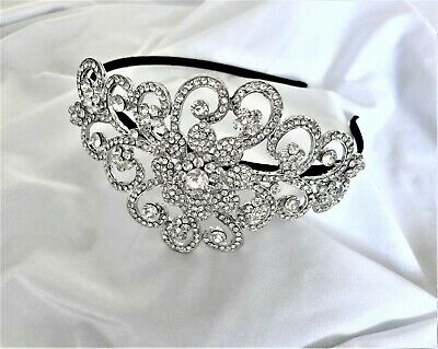 Diamante Tiara Headband Bridal with a Flower Design with Crystals