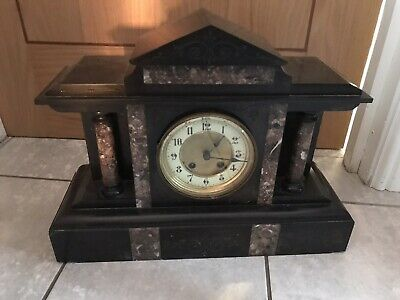 Antique Vintage Marble/Slate Clock Plus Key