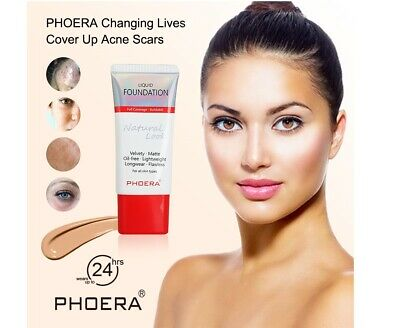 TWIN PACK PHOERA Liquid Foundation Full Coverage Velvety Matt Flawless Makeup UK