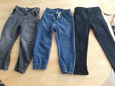 Bundle x 3 pairs boys jeans trousers 4-5 years elasticated waist