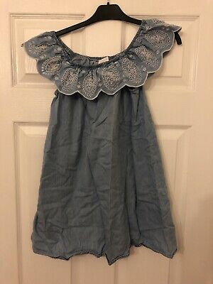 F&F Kids Girls Aged 9-10 Years Light Blue Material Patterned Frill Summer Dress