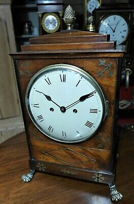 Regency Mahogany Brass Inlayed Fusee Bracket Clock