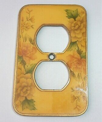 Vintage Brass Outlet Cover Plate Flower Inlay