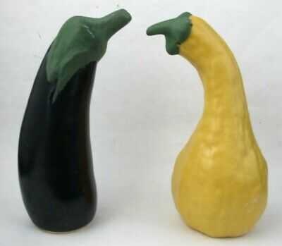 Patricia Garrett Studio Art Pottery Large Gourd Squash Salt & Pepper Shakers