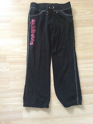 ~GIRLS Pineapple Tracksuit Bottoms Age 9-10 Black Pink~
