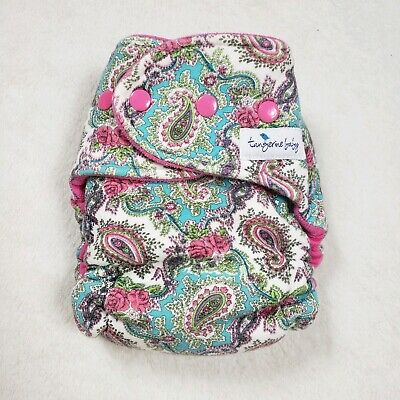 Hybrid Teal & Pink Paisley Cloth Diaper Baby Used WAHM Homemade
