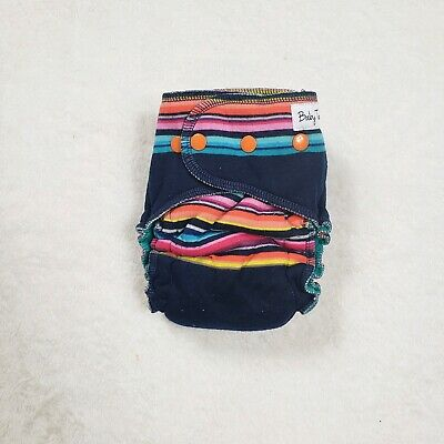 Hybrid Navy Blue Sunset Stripped Cloth Diaper Baby Used WAHM Homemade