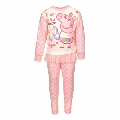 Peppa Pig unicorn Pyjamas girls age 4 tutu top & trousers pink polka dot cotton