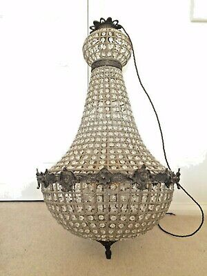 French Empire Style Chandelier, Antique, vintage, Tent and Basket