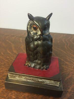 Antique Vtg Solid Brass Owl on Books Paperweight Single Bookend Original Paint