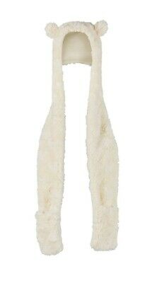 BRAND NEW MOTHERCARE cream faux fur hooded scarf Up To Age 9 Months RRP £13.50