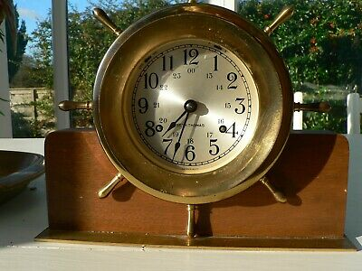 Antique Seth Thomas Helmsman Nautical Ships Bells Clock On Stand German Movement