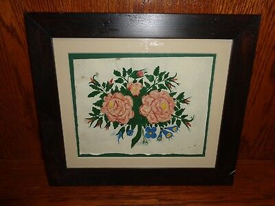 Antique 19th.c Folk Art Watercolor Painting of Roses & Flowers