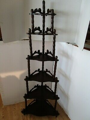 "Antique Mahogany wood Victorian 6 shelf corner stand etagere Fretwork 55 ¾""Tall"