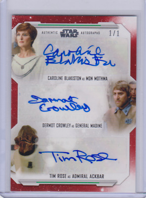 2019 Topps Star Wars Skywalker Saga Red Triple Auto Mon Mothma Madine Ackbar 1/1