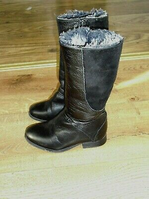 REAL LEATHER/ SUEDE FUR LINED  BOOTS from ZARA size 9 in VGC