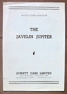 "JOWETT JAVELIN JUPITER SONDERDRUCK ""THE MOTOR"" 1950 PROSPEKT BROCHURE english"