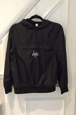 Boys Black Hype Jacket Hooded Windcheater Age 13.