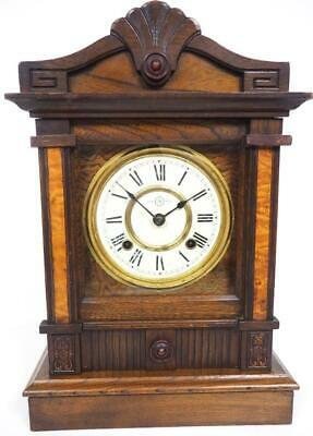 Fine Seth Thomas 8 Day Bracket Clock Oak & Walnut Striking Mantel Clock C1900
