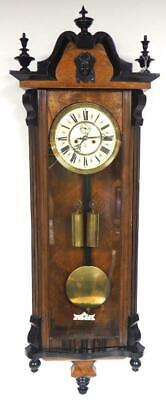 Walnut Antique 8 Day Vienna Wall Clock Double Weight Regulator Wall Clock C1890