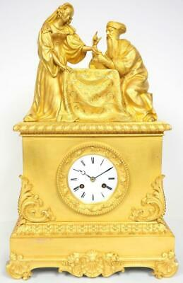 French Empire Mantel Clock Bronze Ormolu 8 Day Bell Striking Silk Suspension WOW