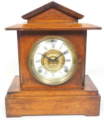 Antique American 8 Day Bracket Clock Carved Oak  Striking Mantel Clock C1900