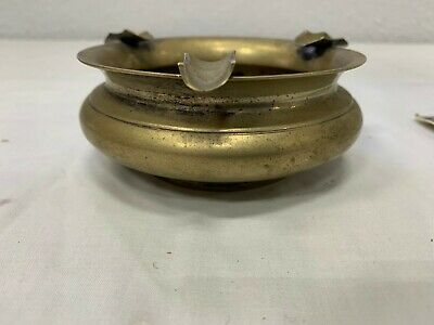 Vtg Silverplate ASHTRAY - Brasstone, EPNS A1 - Cork center, USED, Tarnish, Wear