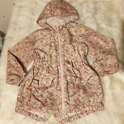 Girls 4-5 years floral berry raincoat light coat jacket hooded clothes next