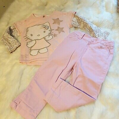 Girls 18-24 Months Bundle Hello kitty Top skinny jeans trousers outfit Next Day