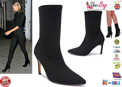 ⭐TAYLOR⭐ Womens Ladies Black Stretch Heel Ankle Boots Fitted Sock Bootie Size 💗