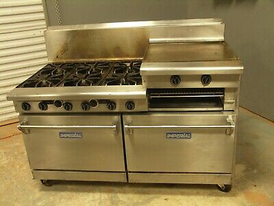 """Imperial 60"""" Model IDR-6-RG24 Six burner, two oven, pizza oven, and a griddle."""