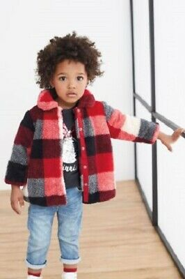 NEXT Girls Check Jacket Girls Red Fleece Coat 4-5 Years BNWT