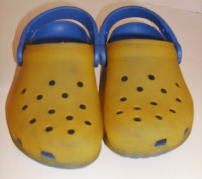 Childrens CROCS US Size C 12-13 Yellow Translucent Classic Shoes with Blue