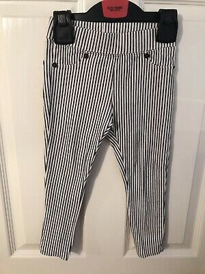 Girls Zara Age 5 Skinny Black And White Striped Trousers