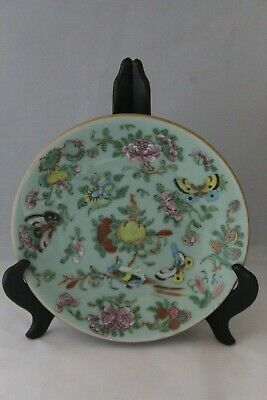 Antique 19Th Century Chinese Canton Celadon Famille Rose Plate
