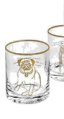 NWT Anthropologie Double Dog Pug Old-Fashioned Glass