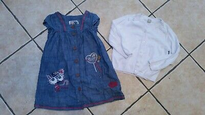 """Girls Next Fab Applique """"Cat"""" Denim Style Soft Dress And Cardigan Age 3-4 Years"""