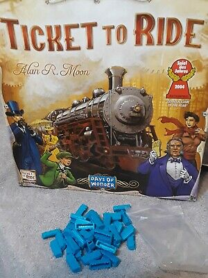 Blue Train Cars Ticket to Ride Board Game Replacement Parts 45 pieces