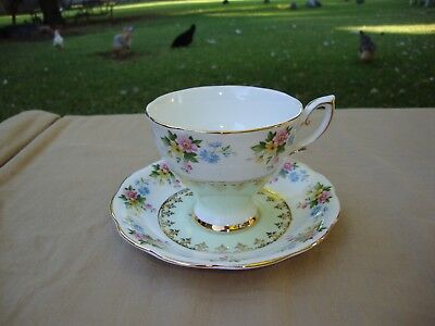 Royal Standard Bone China England Teacup Saucer Set Pale Green With Multi Floral