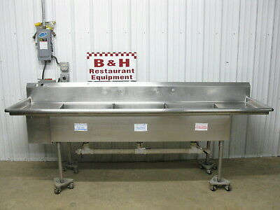 """108"""" Heavy Duty Three Bowl 2 Drain Board 3 Compartment Stainless Sink 9'"""