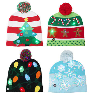 Kids Christmas Hat Girls Boys Knitted With LED Light Xmas Comfy Fashion Cute
